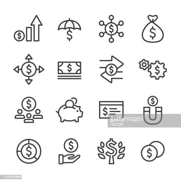 金融アイコン - ライン シリーズ - クラウドソーシング点のイラスト素材/クリップアート素材/マンガ素材/アイコン素材