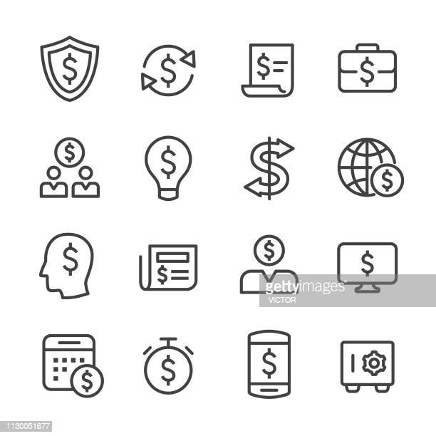 finance icons set - line series - fund manager stock illustrations, clip art, cartoons, & icons