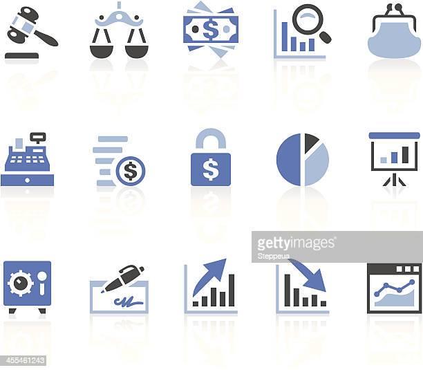 finance icons - blue purse stock illustrations