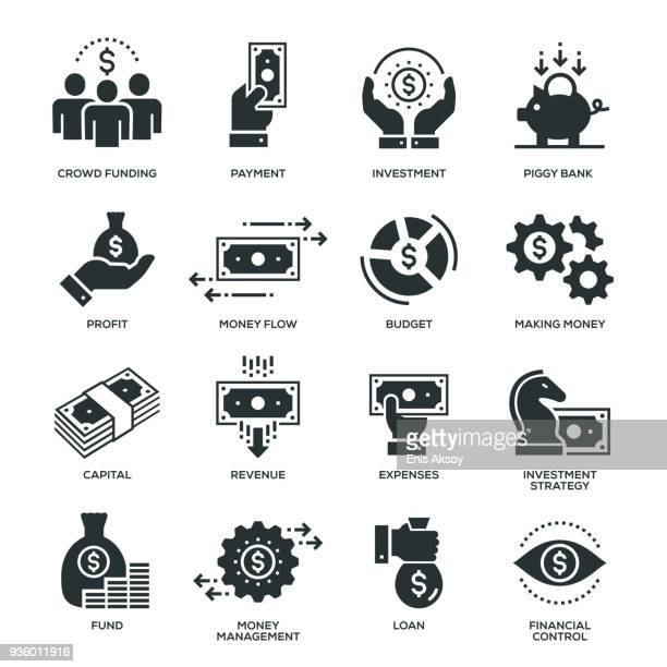 finance icons - making money stock illustrations