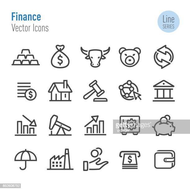 finance icons - vector line series - bull market stock illustrations, clip art, cartoons, & icons