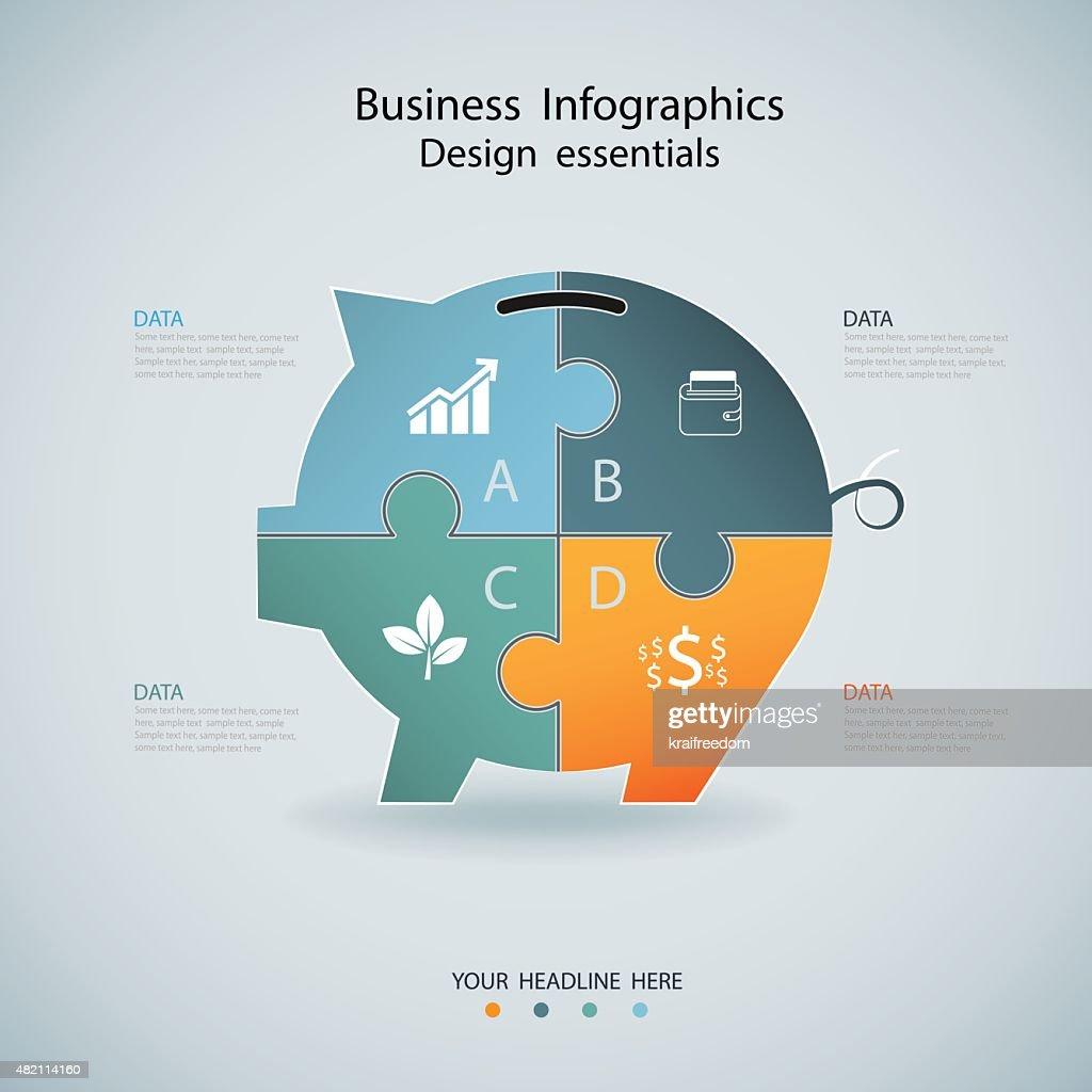 Finance Infographics options banner design,vector pig.