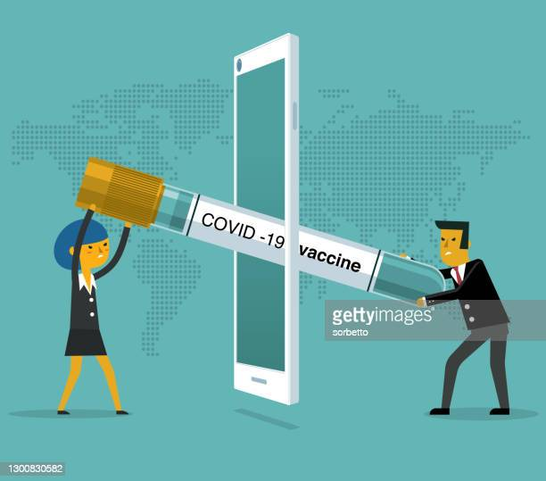 finance injection - mobile phone - business people - viral shedding stock illustrations
