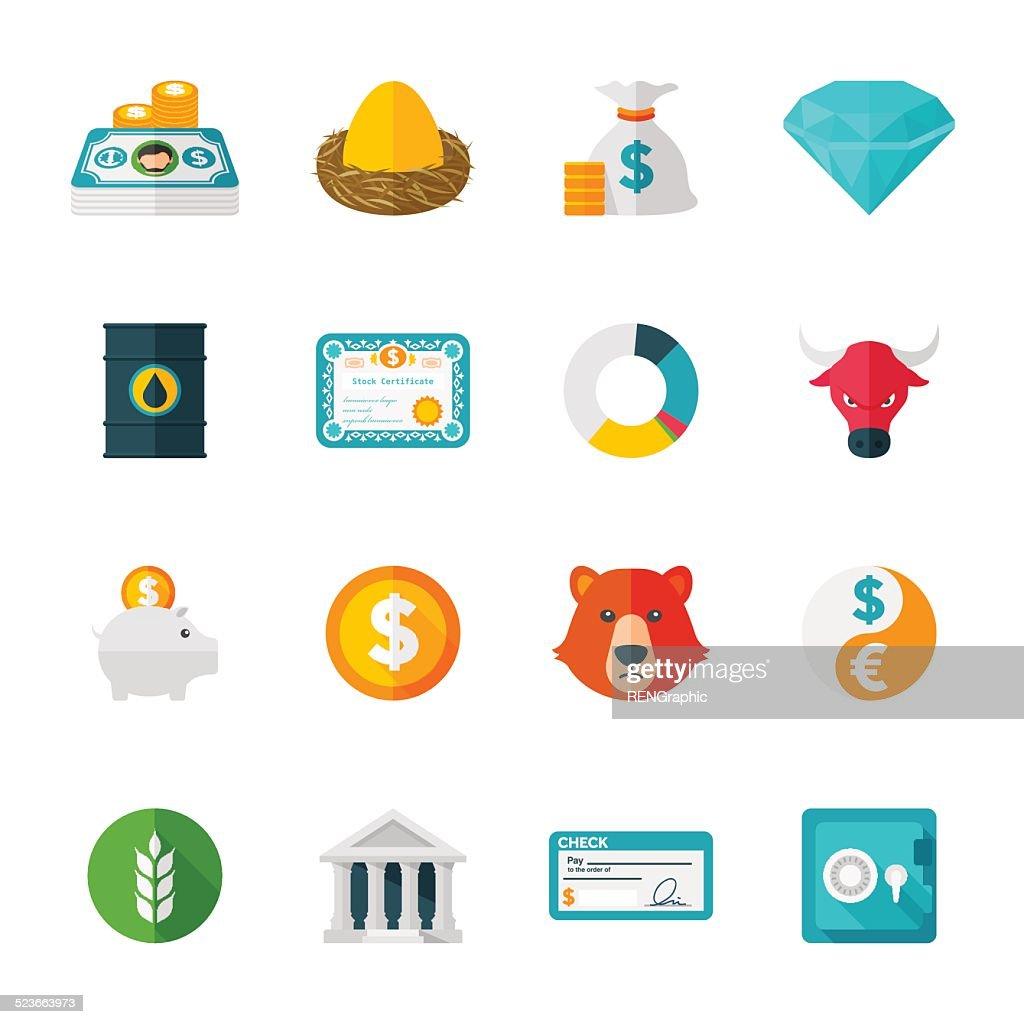 Finanzas & Investmen conjunto de iconos de diseño plano : Ilustración de stock