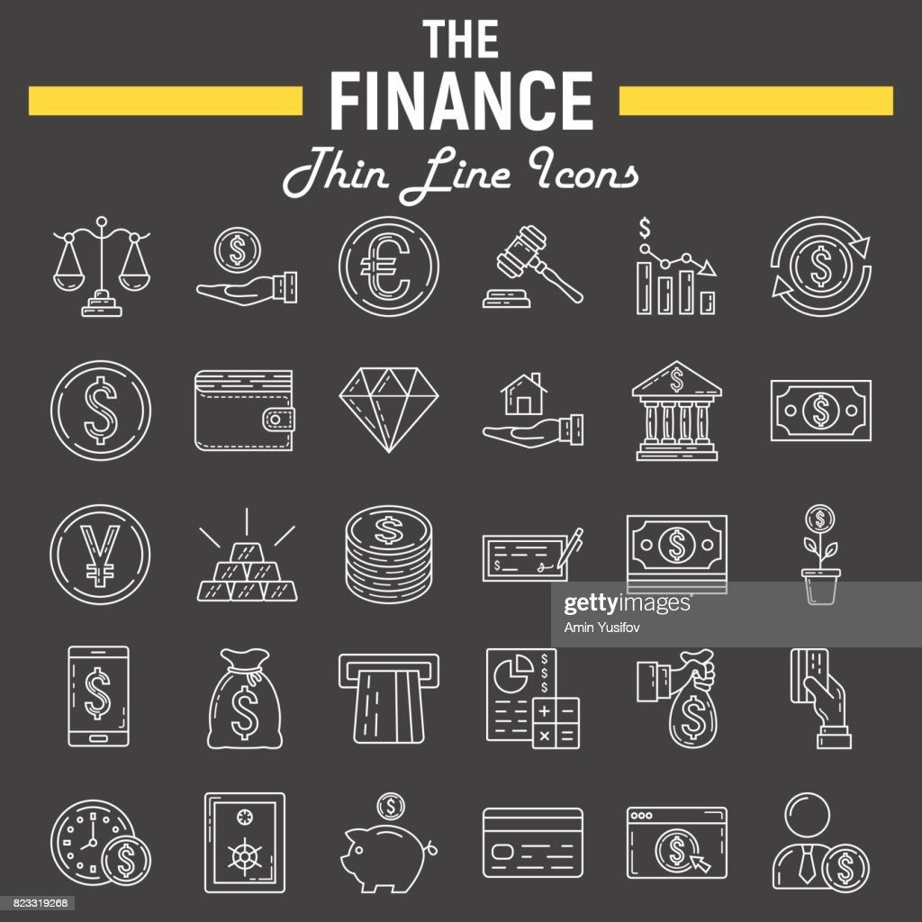 Finance line icon set, business symbols collection, marketing vector sketches,  illustrations, business signs linear pictograms package isolated on black background, eps 10.
