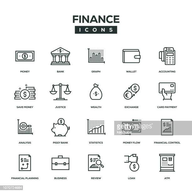 finance line icon set - balance stock illustrations