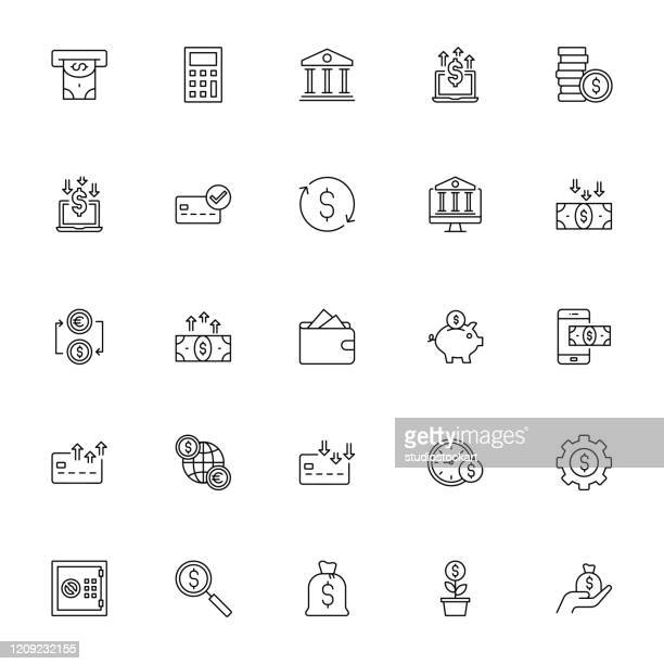 finance line icon set - financial technology stock illustrations