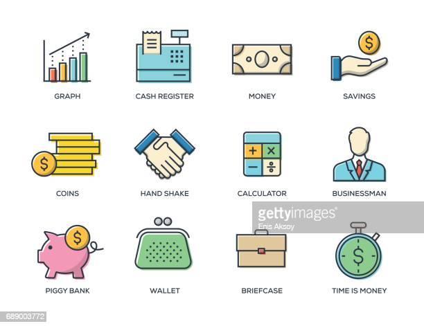 ilustrações, clipart, desenhos animados e ícones de conjunto de ícones de linha de financiamento - tempo é dinheiro