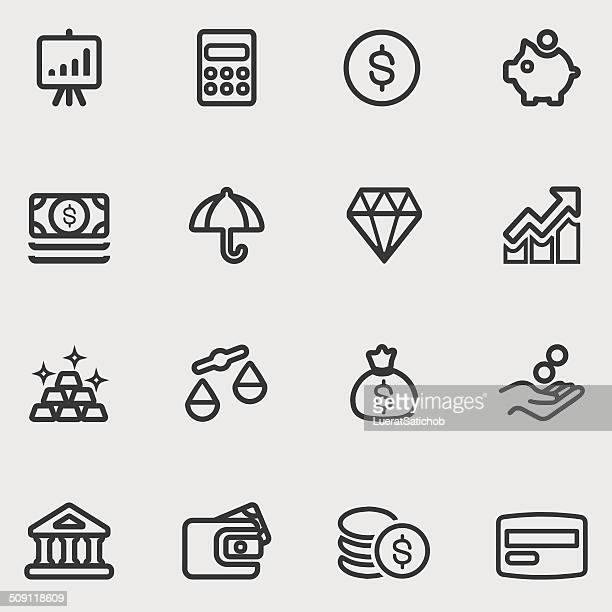 finance line icons   eps10 - slim stock illustrations