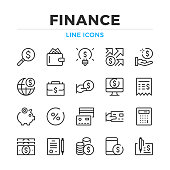 Finance line icons set. Modern outline elements, graphic design concepts. Stroke, linear style. Simple symbols collection. Vector line icons