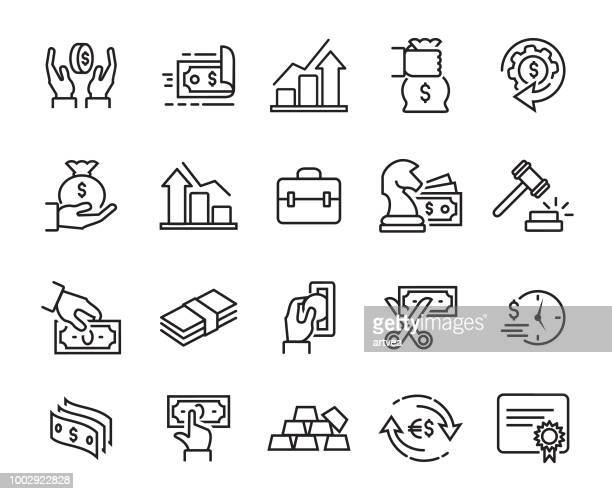 finance line icons set - stock certificate stock illustrations