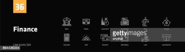 finance line icons set - accountancy stock illustrations, clip art, cartoons, & icons