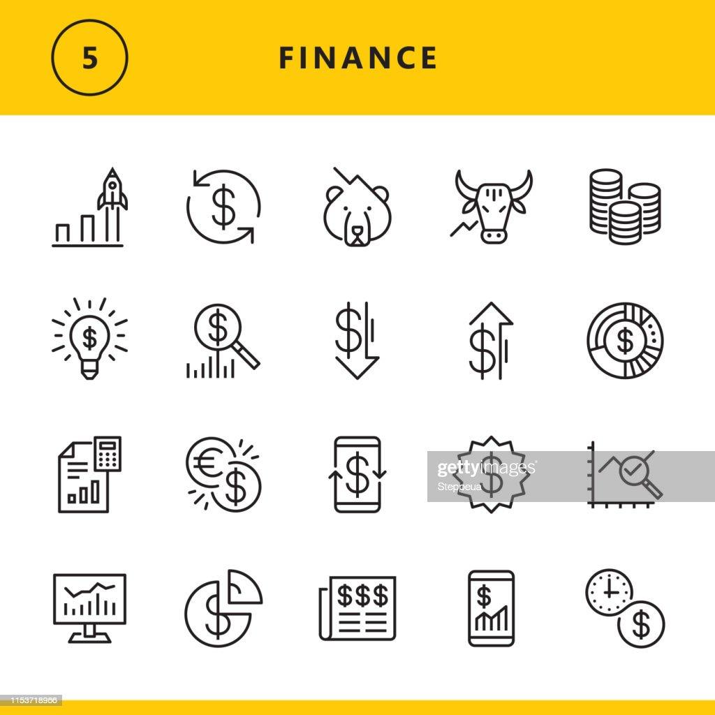 Icone della linea finanziaria : Illustrazione stock