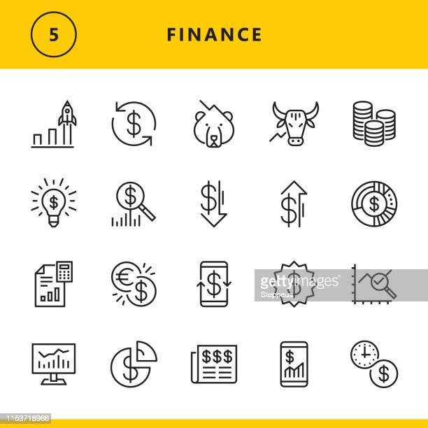 finance line icons - finance stock illustrations