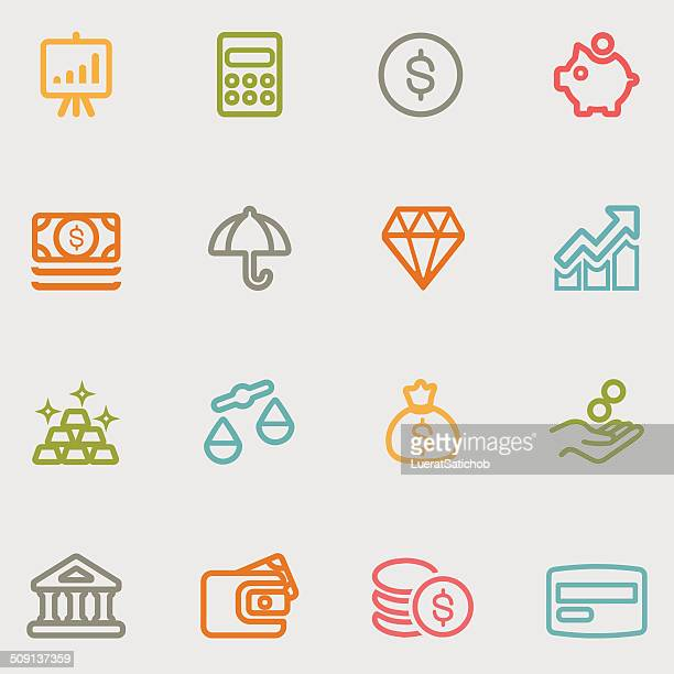 Finance Line variety color icons | EPS10