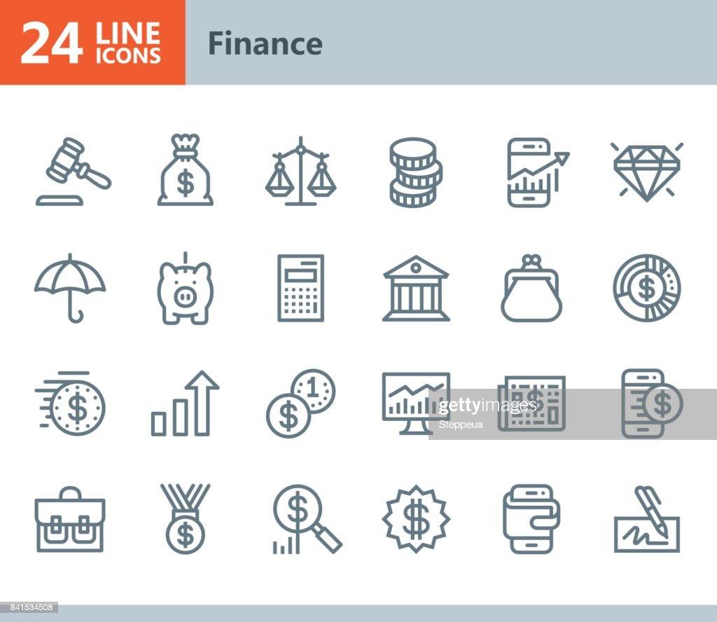 Financiar - línea de iconos de vector : Ilustración de stock