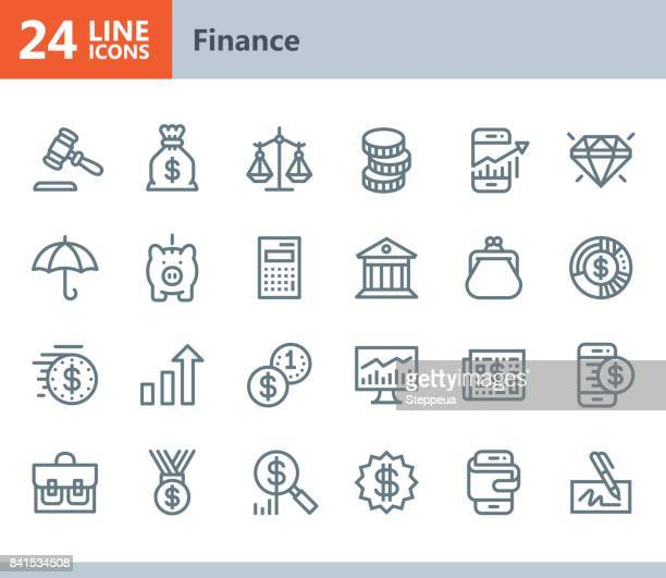 finance - line vector icons - dollar sign stock illustrations, clip art, cartoons, & icons