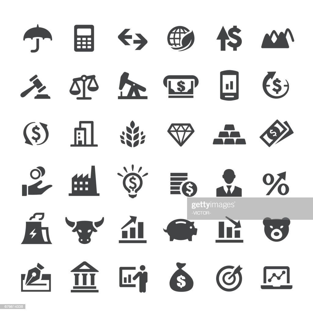 Finanzas mercado iconos - grandes Series : Ilustración de stock