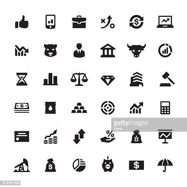 金融市場の記号やアイコンのベクトル