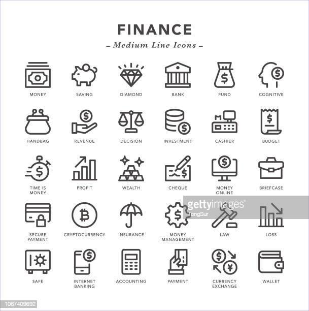 finance - medium line icons - accountancy stock illustrations