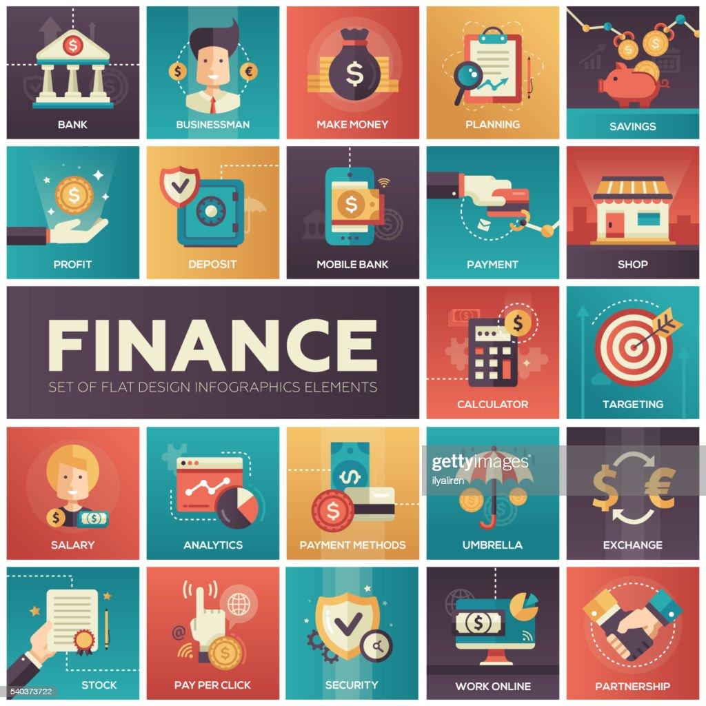 Finance - modern flat design isquare icons