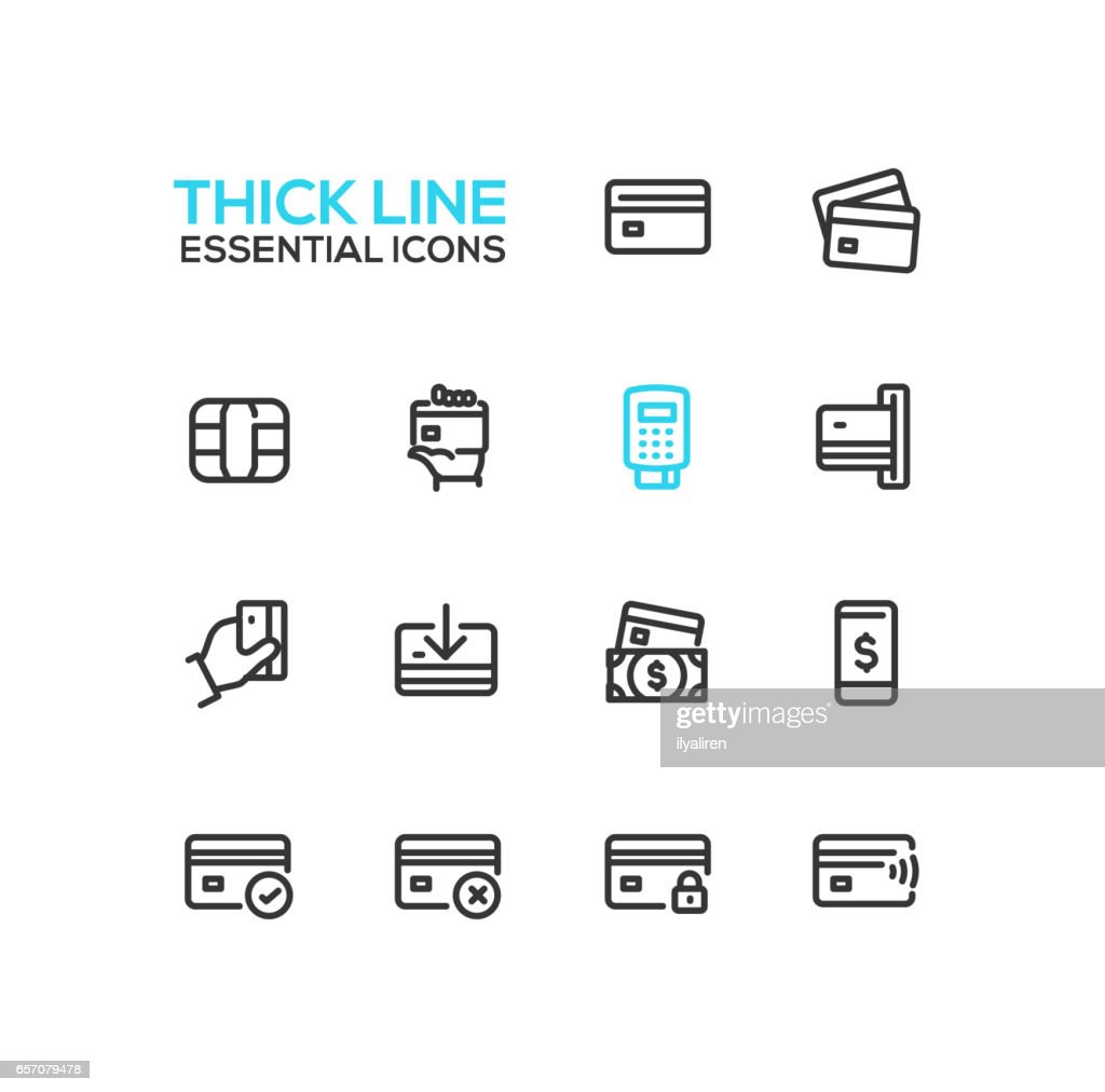 Finance - modern vector single thick line icons set