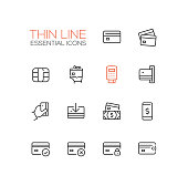 Finance - modern vector single thin line icons set