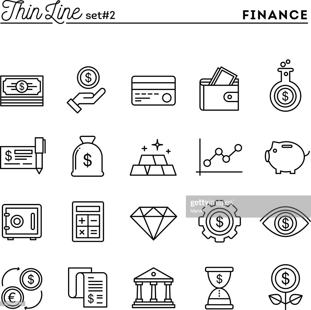 Finance, money, banking, business and more, thin line icons set