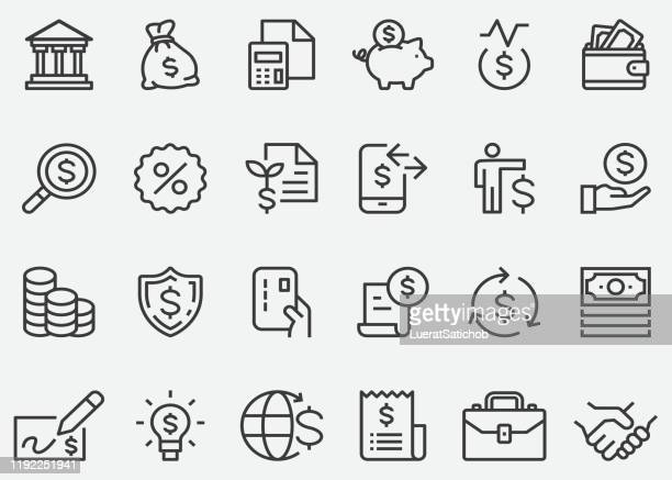 finance money business line icons - loan stock illustrations