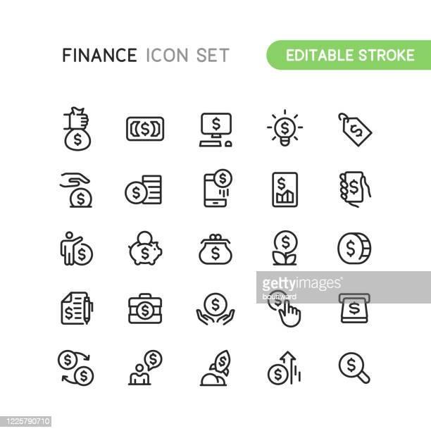 stockillustraties, clipart, cartoons en iconen met financiën money business outline pictogrammen bewerkbare lijn - geld