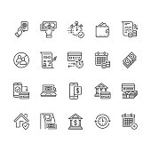 Finance, money loan flat line icons set. Quick credit approval, currency transaction no commission, cash deposit atm vector illustrations. Thin signs for banking. Pixel perfect 64x64 Editable Strokes