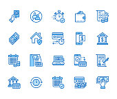 Finance, money loan flat line icons set. Quick credit approval, currency transaction, no commission, cash deposit atm vector illustration. Thin signs for banking. Pixel perfect 64x64 Editable Strokes
