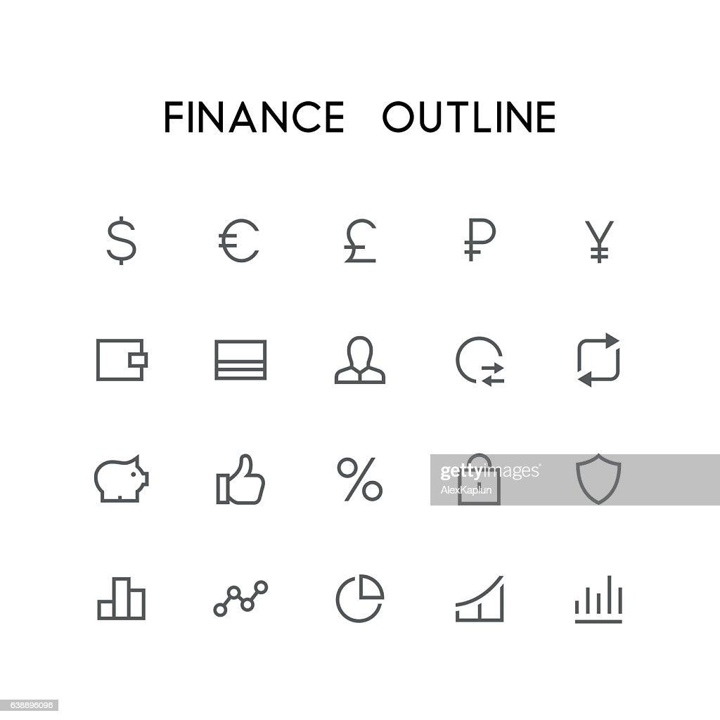 Finance outline icon set