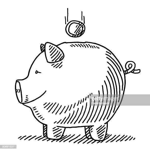 finance piggy bank falling coin drawing - piggy bank stock illustrations