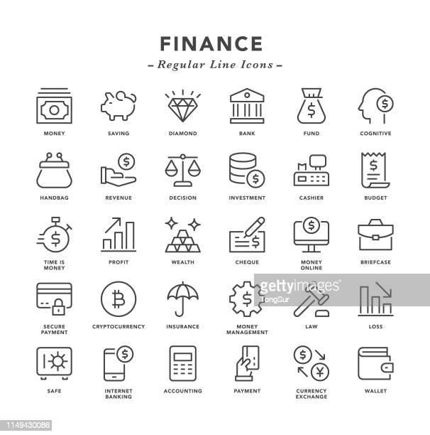 finanzen-regelmäßige linienicons - rechnungswesen stock-grafiken, -clipart, -cartoons und -symbole