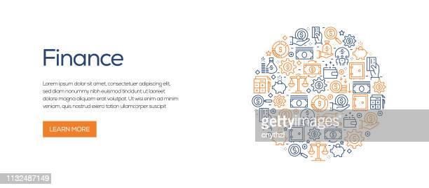 ラインアイコンを持つファイナンス関連のバナーテンプレート。広告、ヘッダー、ウェブサイトのための近代的なベクターイラスト。 - クラウドソーシング点のイラスト素材/クリップアート素材/マンガ素材/アイコン素材