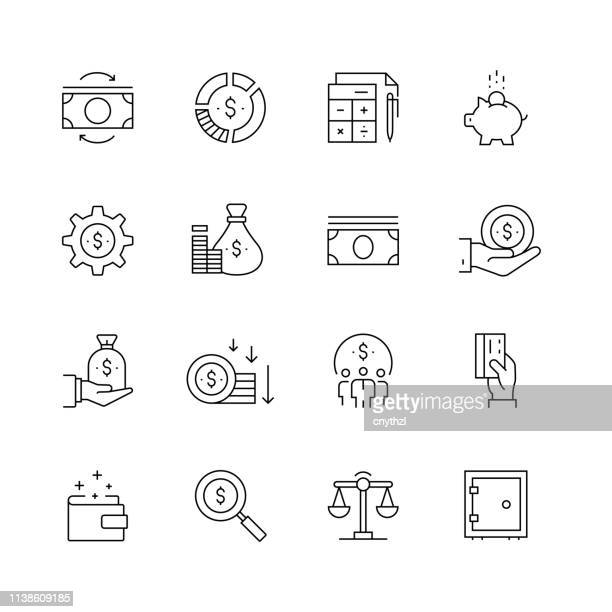 finance related - set of thin line vector icons - expense stock illustrations