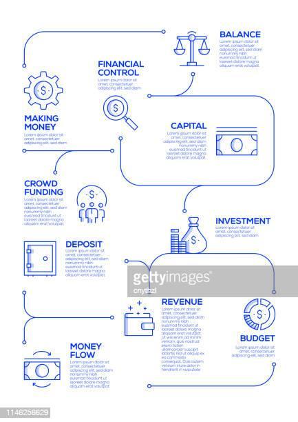 線形スタイルにおける財務関連のベクトル概念とインフォグラフィックデザイン要素 - 為替相場点のイラスト素材/クリップアート素材/マンガ素材/アイコン素材
