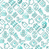 Finance seamless pattern with thin line icons: safe, credit card, piggy bank, wallet, currency exchange, hammer, agreement, handshake, atm slot. Modern vector illustration.
