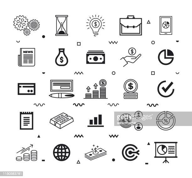 finance shared services line style vector icon set - sharing economy stock illustrations