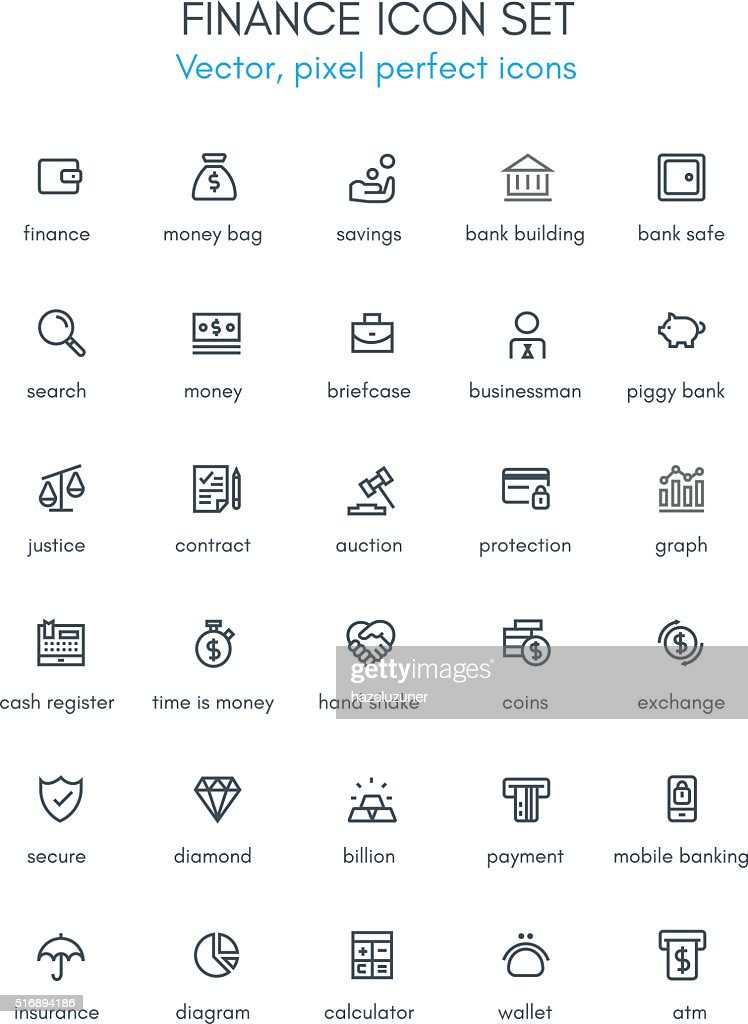 Finance theme line icon set