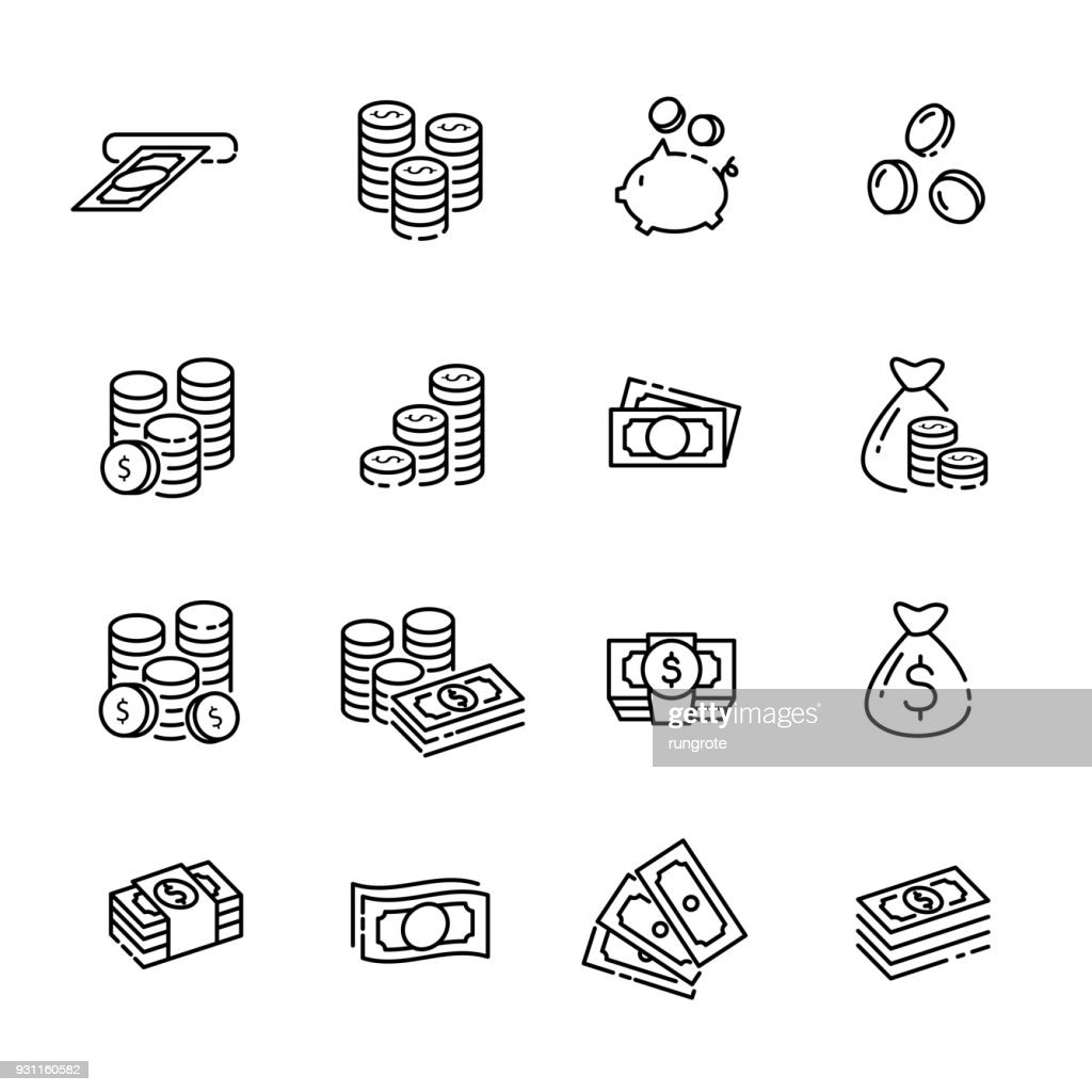 finance thin line icon set 1, vector eps10