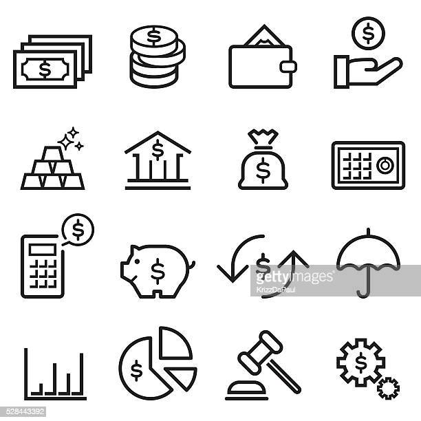 ilustraciones, imágenes clip art, dibujos animados e iconos de stock de iconos de finanzas de línea fina - bolsa de dinero