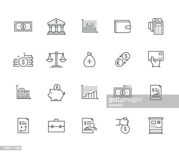 illustrazioni stock, clip art, cartoni animati e icone di tendenza di finance thin line series - rapporto finanziario