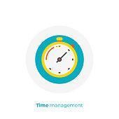 Finance timemanagement flat art icon, business clocks vector art, cartoon digital turnaround time illustration