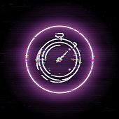 Finance timemanagement glitched icon, business clocks vector art, glitch digital turnaround time illustration