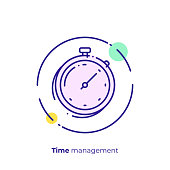 Finance timemanagement line art icon, business clocks vector art, outline digital turnaround time illustration