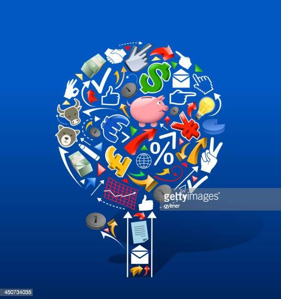 stockillustraties, clipart, cartoons en iconen met finance tree - e mail