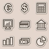 Finance web icons set 1, brown contour sticker series