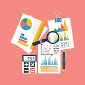 Financial accounting concept. organization process, analytics, r